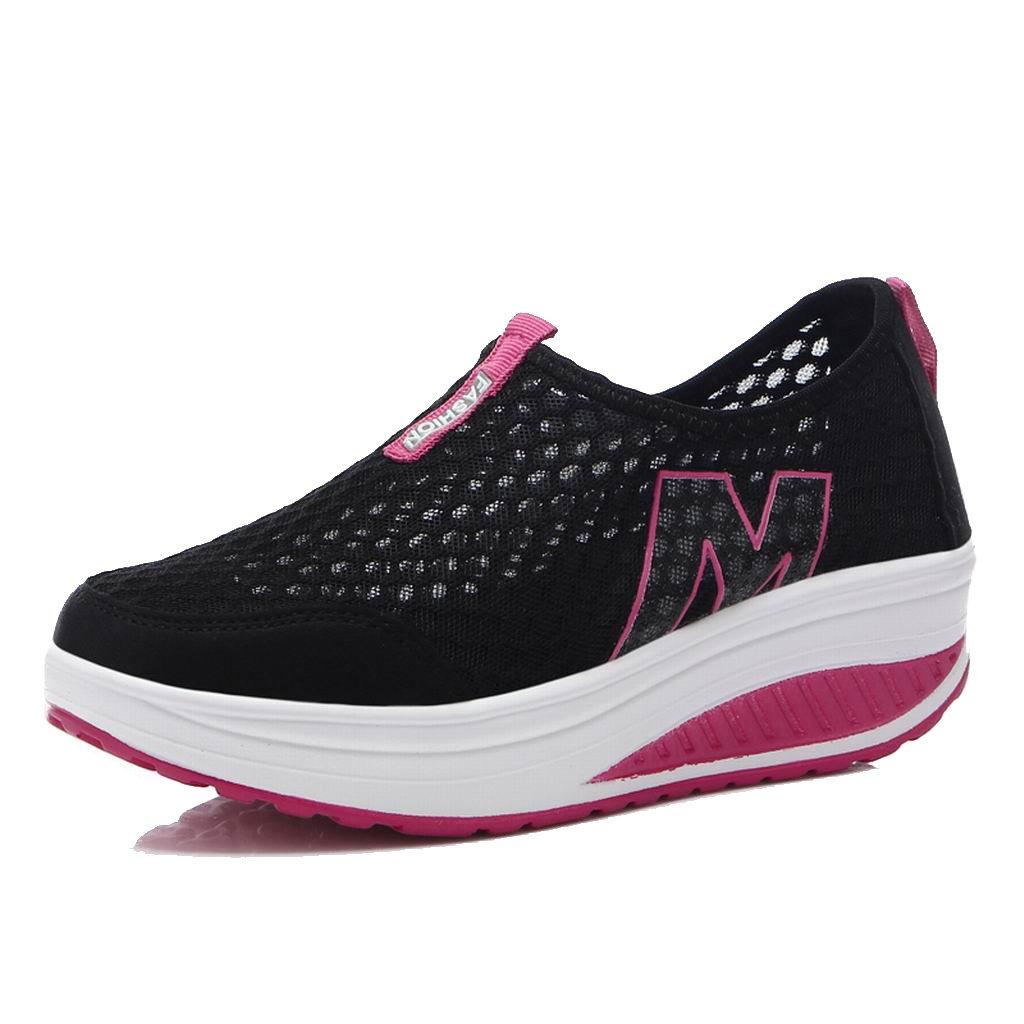 L LOUBIT Women Sneakers Comfort Slip On Wedges Shoes Breathable Mesh Walking Shoes for Women 3308 Black 39