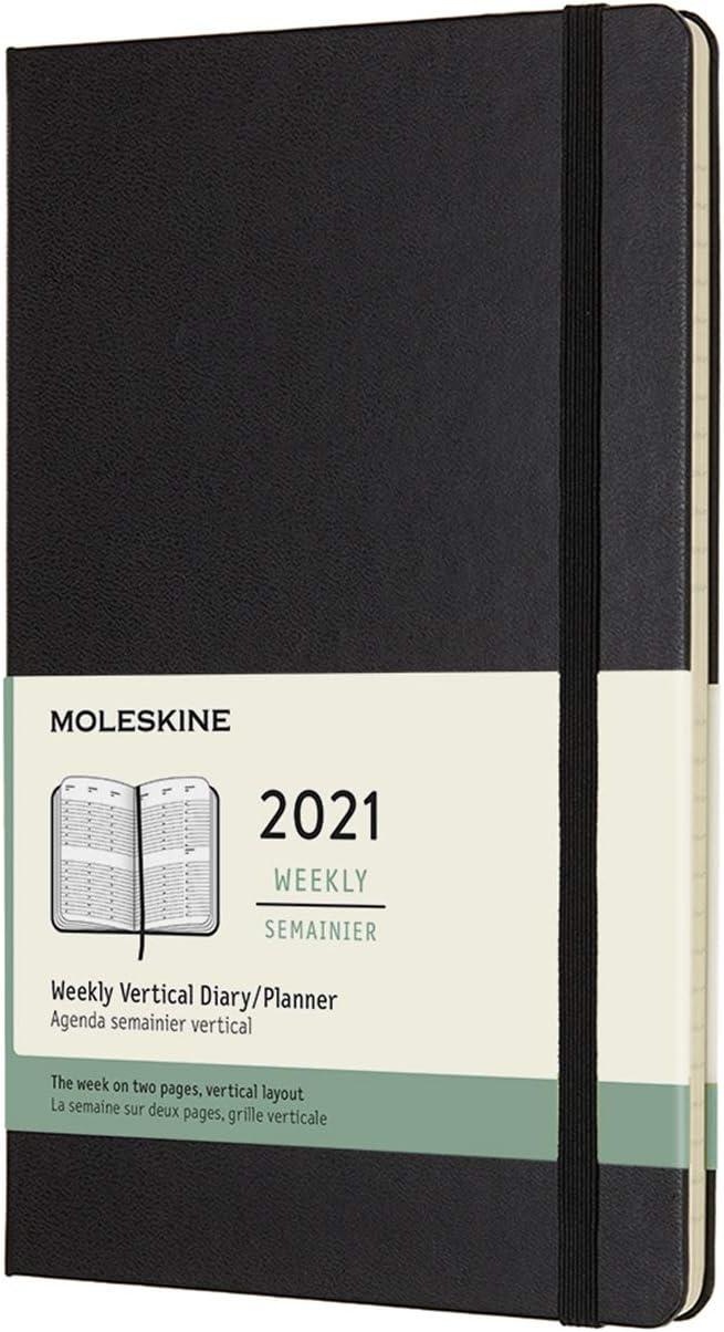Moleskine - Agenda Semanal 2021, Agenda de 12 Meses, Planificador Vertical con una Semana en dos Páginas, Tapa Dura, Tamaño Grande de 13 x 21 cm, Color Negro, 144 Páginas