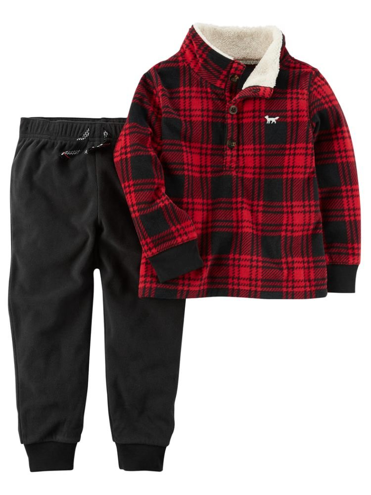 Carter's Boys' 3M-4T 2 Piece Long Sleeve Top And Pants Set 2T Black/Red