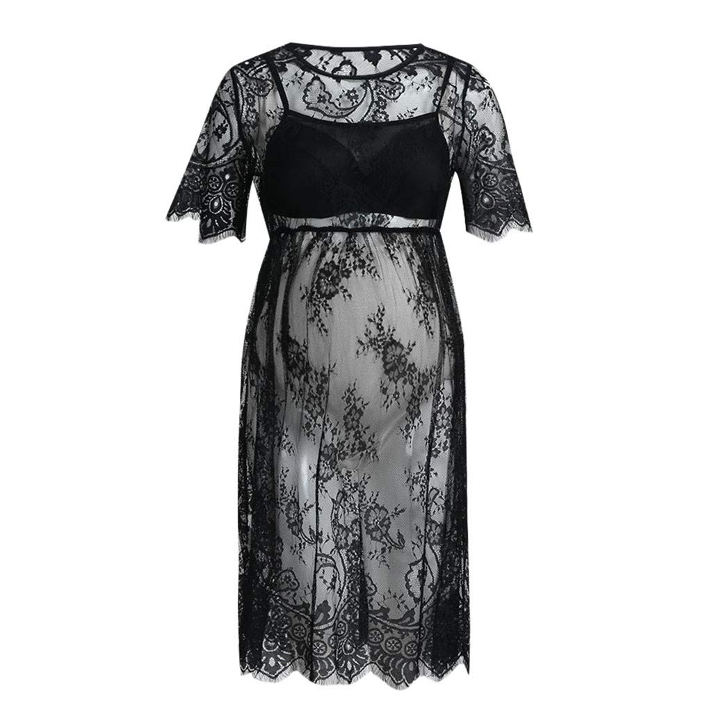 8d3ff5c3856 Amazon.com  Maternity Clothes Short Sleeve Women Sexy Lace Dress Pregnancy  See-Through Fancy Pregnancy Photography  Clothing