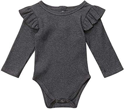 Argorgeous Newborn Baby Girl Romper Ribbed Long Sleeve Jumpsuit Solid Plain Bodysuit Ruffle Onesies Infant Fall Clothes
