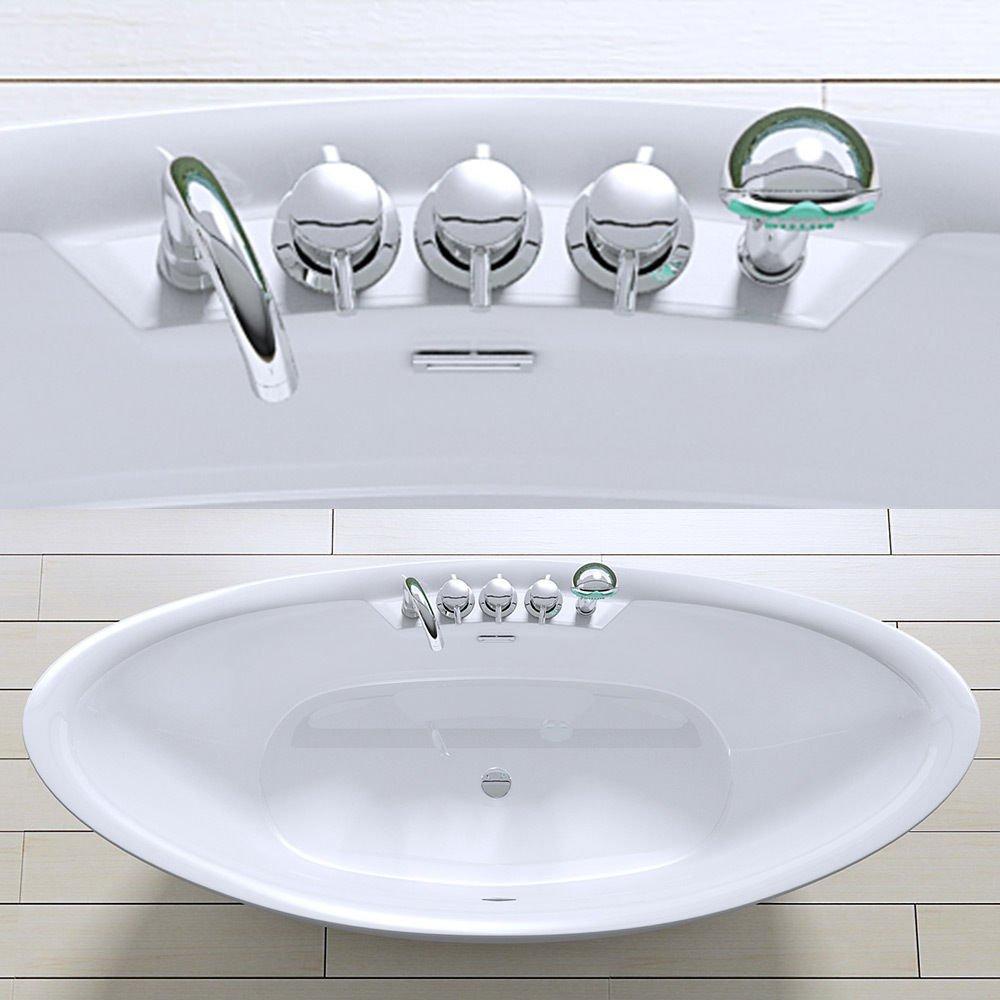 Freistehende Luxus Badewanne Vicenza603 in weiß, BTH: 183x80x80 cm ... | {Badewannen armaturen freistehend 83}