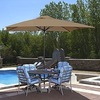 Delightful Island Umbrella NU5448SS Caspian Rectangular Market Umbrella, 8 Ft X 10 Ft,  Stone Sunbrella