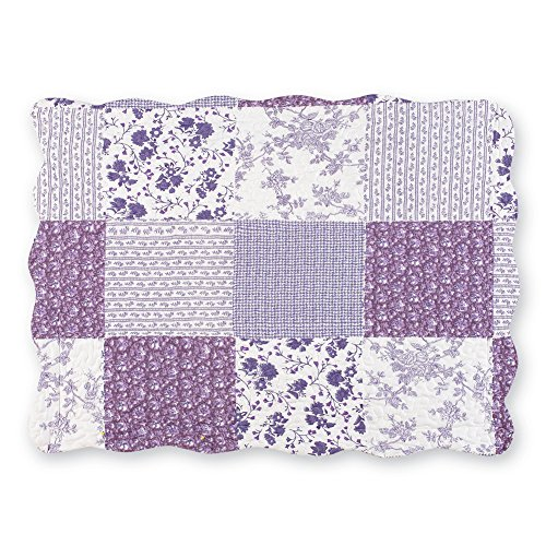 Collections Willow Floral Check Patchwork Bed Pillow Sham with Scalloped Edges, Lavender, Sham (Check Willow)