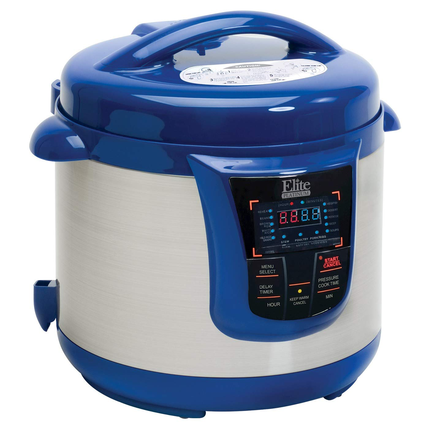 Elite Platinum 8 Quart 14-in-1 Multi-Use Programmable Pressure Cooker, Slow Cooker, Browning, Rice Cooker, Sauté, and Warmer with a 24-hour Delay Timer (Blue)