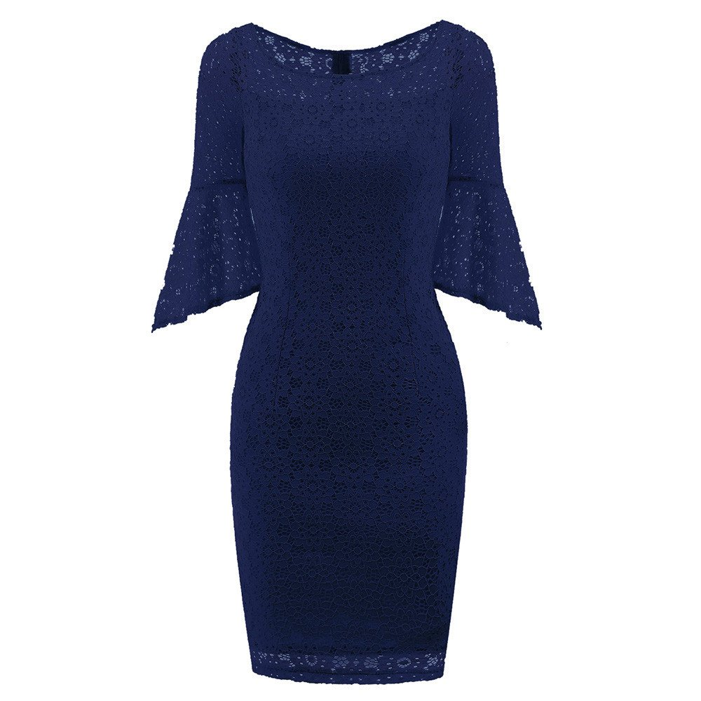 Dresses For Women Party Night Sexy Liraly New Fashion Vintage Lace O Neck Flare Sleeve Bodycon Cocktail Party Casual Dress(Navy ,US-10 /CN-XL)
