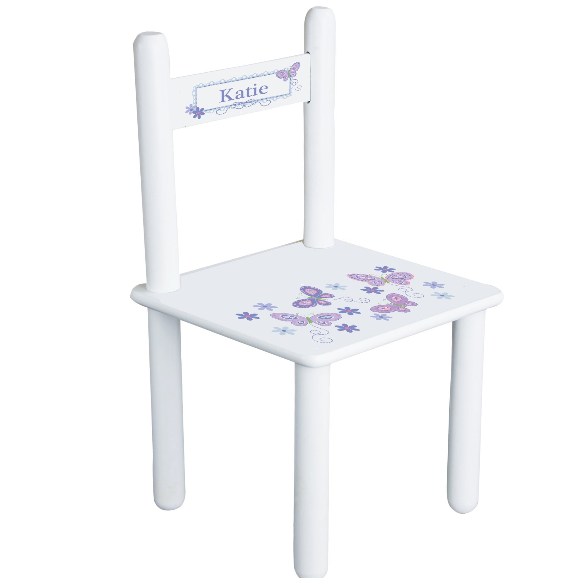 Personalized Butterflies lavender Child's Chair - white