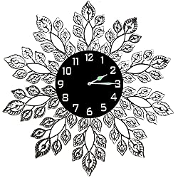 Lulu Decor, Decorative Leaf Metal Wall Clock, Black Glass Dial Diameter 25, Perfect for Housewarming Gift (Crystal Clock Black2)
