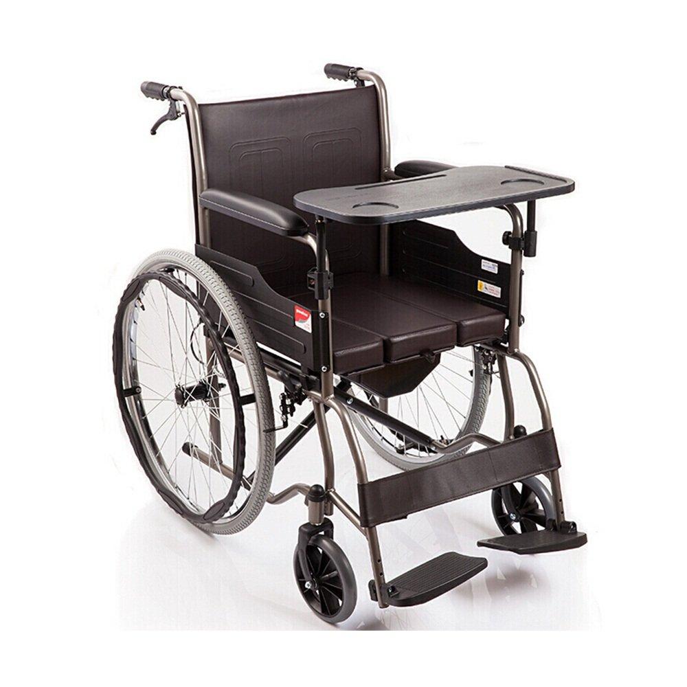 毎日 車椅子アルミ合金折り畳み式ポータブル手動車いす/人間工学に基づいた椅子と背もたれ最大のベアリング100kgサイズ:98 * 65 * 91.5cm B07DN2JLBJ