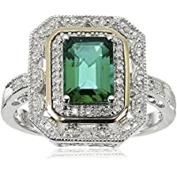 LALISA Fashion 925 Silver &14k Gold Emerald Cut Emerald Art Deco-Style Ring size 6-10 (9)