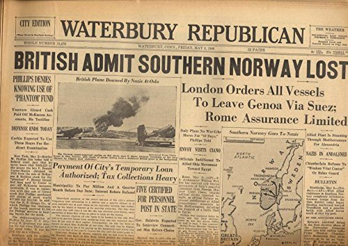 WATERBURY REPUBLICAN 5/3 1940 Brits say southern Norway lost to