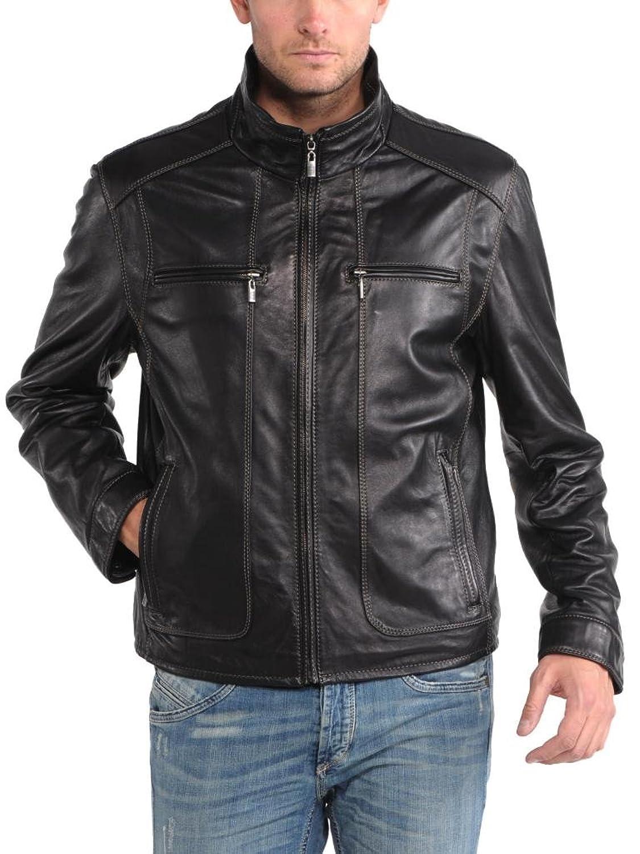 Men Leather Jacket Biker Motorcycle Coat Slim Fit Outwear Jackets AUK004
