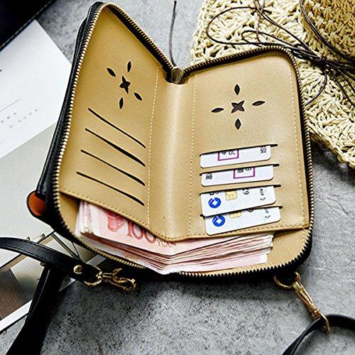 Bag Leather Purse Body Meliya Cellphone PU Shoulder Womens Black Wallet Bag Casual Cross Mini 2147 wnSqncYAIC