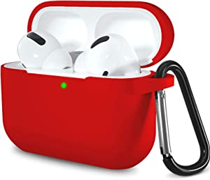 Lerobo for AirPods Pro Case Cover,Shock-Proof Silicone Skin Full Protective Cover for Airpods Pro,Supports Wireless Charging with Durable Carabiner Red