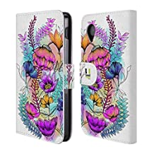 Head Case Designs Dainty Heads Watercoloured Flowers Leather Book Wallet Case Cover for LG Nexus 4 E960