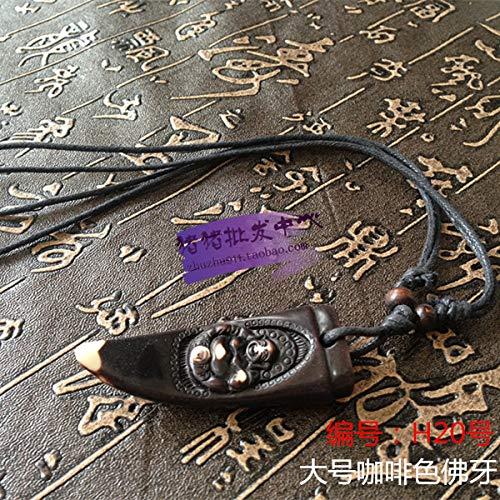 (imitation yak bone necklace pendant chain men women maitreya buddha tooth sweater wholesale (h20 [with] a rope)