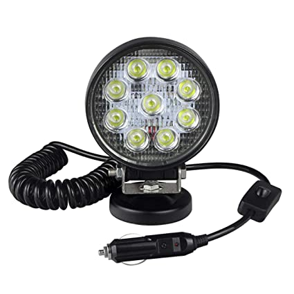 WOWLED 27W Portable LED Work Light Flood Lamp with Magnetic Base for Car Boat Tractor Off-Road Truck Camping Light DC 9-32V /… Maintenance Truck Engineering Vehicle