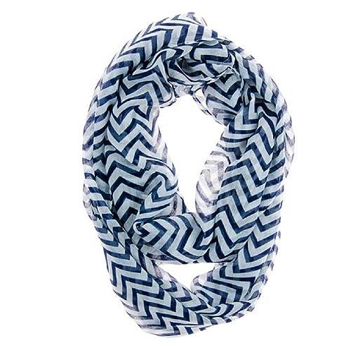 Ularma Moda Las mujeres infinito Chevron Zig Zag Color bloque bucle doble bufanda pura envoltura