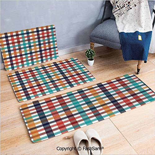 3 Piece Fashion Flannel Door Mat Carpet Colorful Fresh Summertime Pattern Design Gingham Plaid Striped Traditional Picnic Decorative for Door Rugs living room(W15.7xL23.6 by W19.6xL31.5 by W35.4xL62.9