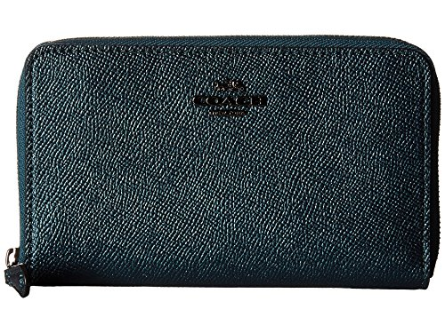 COACH Women's Metallic Leather Medium Zip Around Wallet Dk/Metallic Mineral (Boutique Designer Wallet)