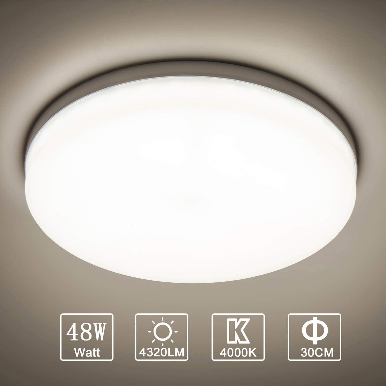 Yafido LED Lámpara de Techo Moderna 48W Plafón Led Redonda Ultra Delgado Downlight Blanco Natural 4000K 4320LM adecuada para Cocina Balcón Dormitorio Corredor Sala de Estar Ø30cm No-Regulable
