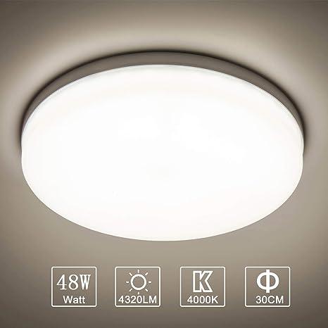 Yafido LED Lámpara de Techo Moderna 48W Plafón Led Redonda Ultra Delgado Downlight Blanco Natural 4000K 4320LM adecuada para Cocina Balcón Dormitorio ...