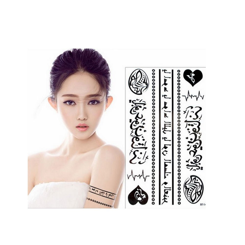 Arabic Word Temporary Tattoos Black Heart Flower Dubai Love Waterproof Sticker Islamic Persian Muslim Decor Mubarak EID Wave Punk