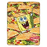 """Fleece Throws - SpongeBob - Mass Patties 45x60"""" New Blanket"""