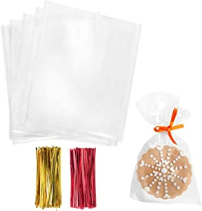 Cello Cellophane Treat Bags,4x6 Inches Cookie Bags 200 Pcs OPP Plastic Clear Treat Bags with 200 Twist Ties for Gift Wrapping,Packaging Candies,Dessert,Bakery,Chocolate,Party Favors