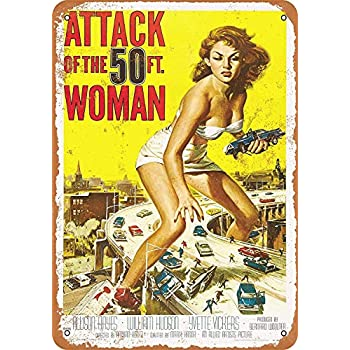 Fun Quirky Retro Vintage Cushion Cover Attack Of The 50ft Woman
