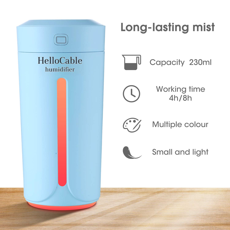Mini Luftbefeuchter Humidifer Diffuser Zimmer//Auto//HomeGrow Nachtlichtfunktion 7 Farben Hello Cable via USB