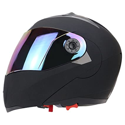 Full Face Motorcycle Helmet Dual Visor Street Bike with Colorful Shield(MATTE BLACK-M
