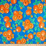 Oil Cloth Oranges Blue Fabric By The Yard by OilCloth International