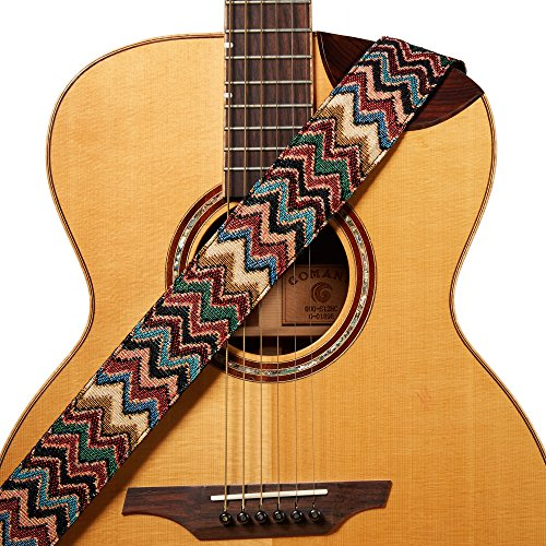 Amumu Chevron Jacquard Guitar Strap Multi-Color Cotton for Acoustic, Electric and Bass Guitars with Strap Blocks & Headstock Strap Tie - 2 Wide