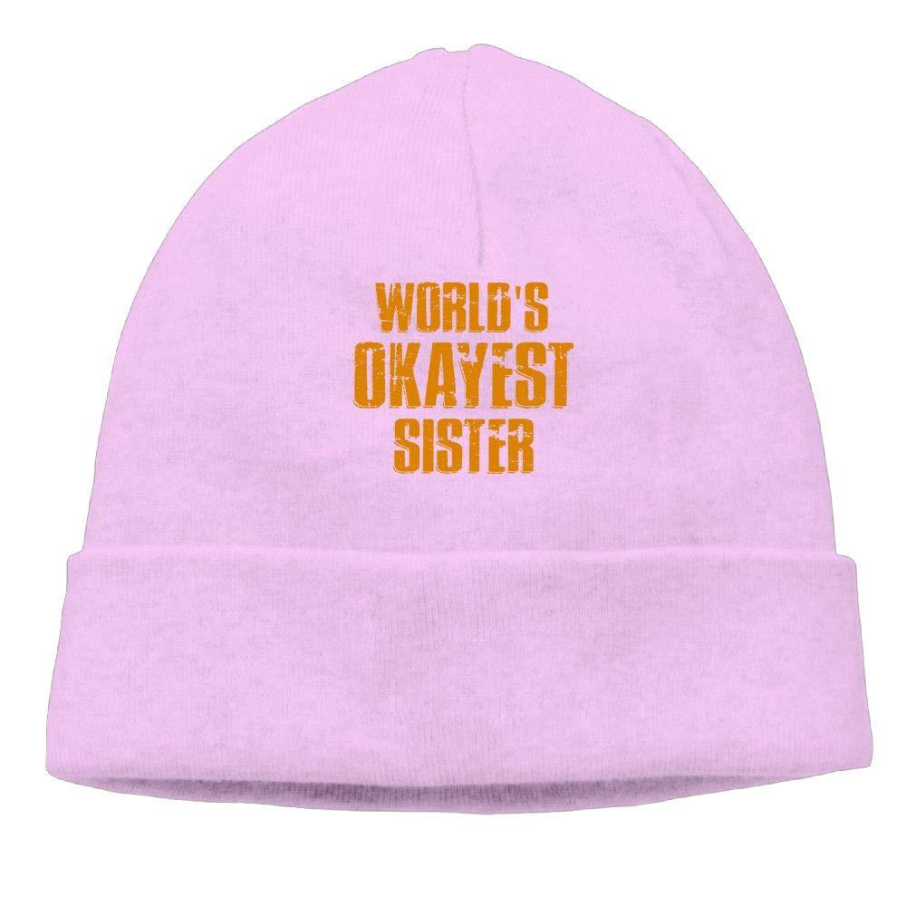 Poii Qon Worlds Okayest Sister Beanie Hats Skull Cap for Womens Mens