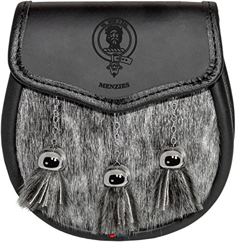 Menzies Semi Dress Sporran Fur Plain Leather Flap Scottish Clan Crest