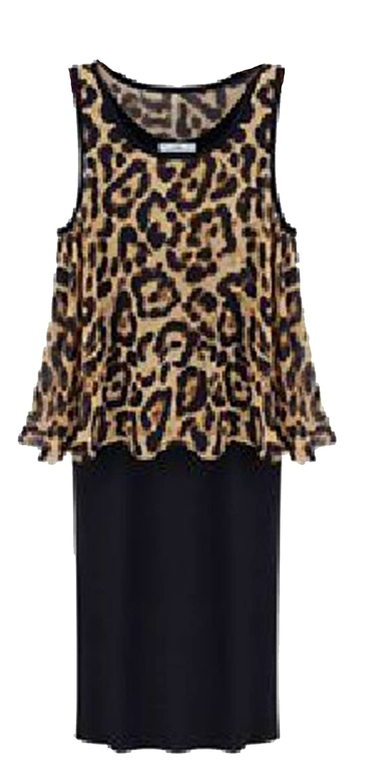 XIANKI Women Sleeveless Leopard Two Piece Patchwork Casual Bandage Dress