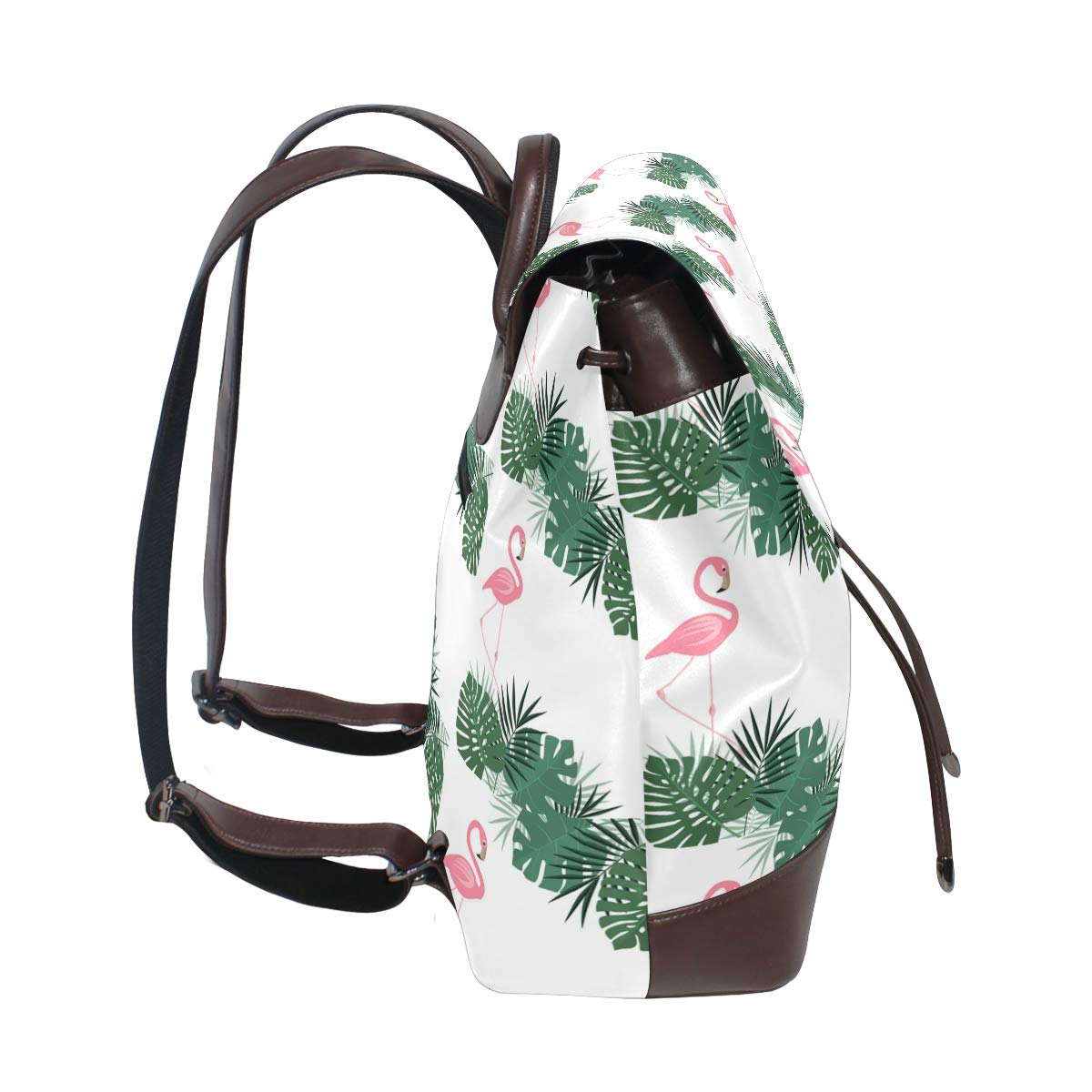 Leather Palm Leaves And Flamingo Backpack Daypack Bag Women