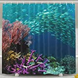Fish Shower Curtain Walmart T.Brent Ocean Coral Fish Bathroom Decorations Shower Curtain,Print Waterproof Mildew Resistant Polyester Fabric, Machine Washable Extra Long Bath Curtains Home Decor Sets,60