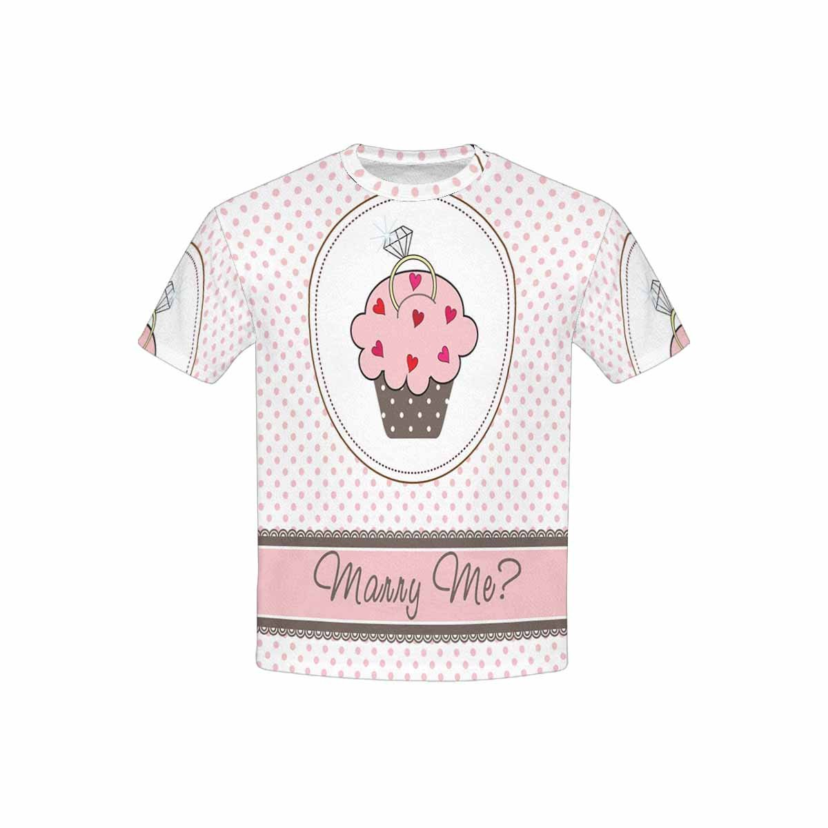 InterestPrint T-Shirt in Youth Wedding Cupcake with a Ring XL