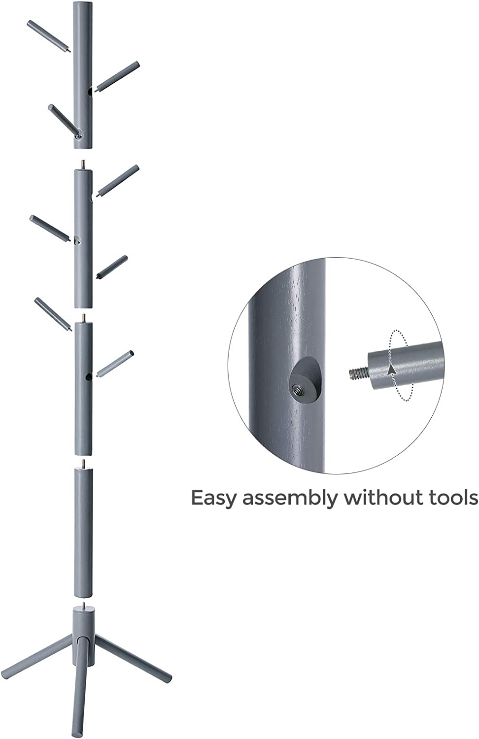 Umbrella Hats VASAGLE Coat Rack Free Standing with 8 Hooks Gray URCR04GY Gray URCR04GY Solid Wood Coat Tree Entryway Organizer for Clothes Handbags