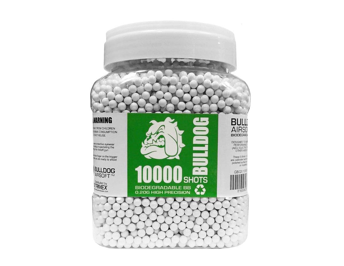 BULLDOG 10000 Airsoft Pellets [0.20g] Biodegradable [6mm White] Triple Polished [Pro Team Grade]