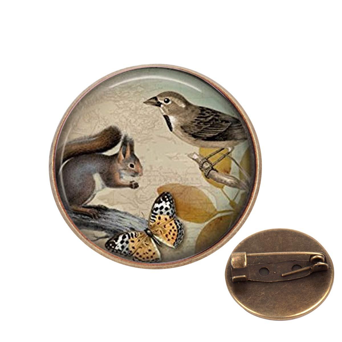 Pinback Buttons Badges Pins Squirrel Art Animal Lapel Pin Brooch Clip Trendy Accessory Jacket T-Shirt Bag Hat Shoe