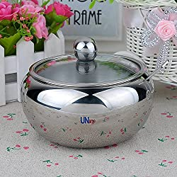 UName Stainless Steel Salt/Sugar Serving Bowl Seasoning Container Condiment Jar with Lid& Spoon 16.9 oz UN106