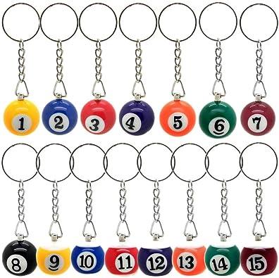 15 llavero bolas de billar carambola colgante con anillo número 1-15 negro azul verde rojo naranja: Amazon.es: Joyería