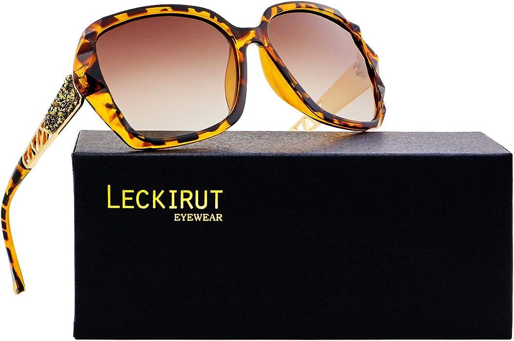 d2f43216ab ... Ombra Classico Oversize Polarizzati Occhiali da Sole 100% UV Protezione  Occhiali. LECKIRUT - Occhiali da sole - Oversize - Donna Leopard Taglia  unica