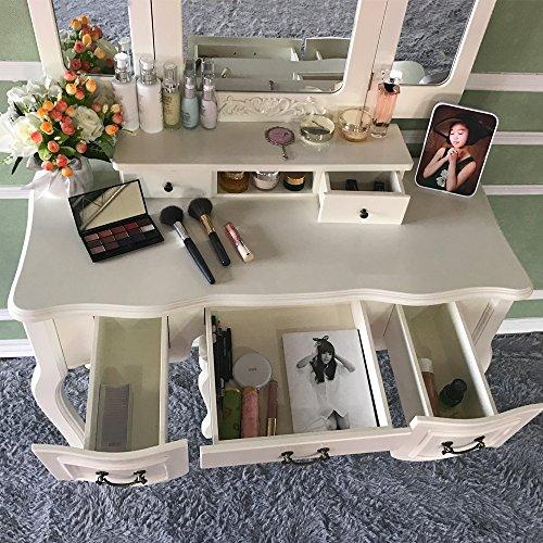 Blongang Vanity Set Tri-Folding Mirror Vanity Dressing Table Set with Stool 5 Drawers Bedroom Makeup Vanity Table Set,Ivory White - bedroomdesign.us