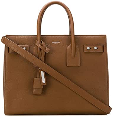 SAINT LAURENT Grained Leather Sac de Jour Medium Tote Handbag Brown