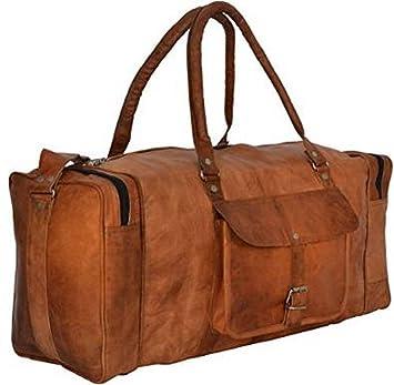 Indiartvilla Cuir Sac fourre-tout pour homme et femme Overgnight Duffel Sac à langer Week-end Voyage bagages Gym Sac fourre-tout Tan IFNO1