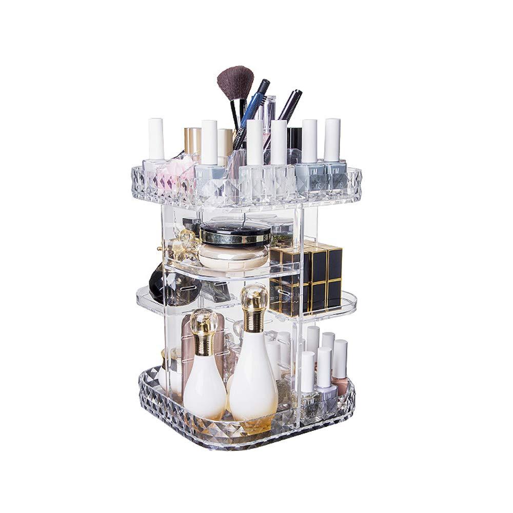 YunNasi Trucchi Organizzatore Rotante a 360 Gradi Acrilico Make Up Cosmetic Organizer Regolabile Cosmetici Rossetti Pennelli Storage Box